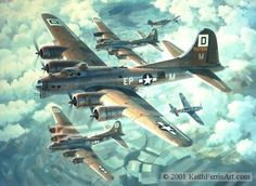 """""""Fortresses Engaged"""" by Keith Ferris -- Two German Messerschmitt 109Gs attack head-on through a formation of B-17s from the 100th Bomb Group over Germany.  The 6 March 1944 Eighth Air Force inaugural mission to Berlin put 702 bomber and 832 fighter sorties over enemy territory. This was to be the worst day of the war for the 100th Bomb Group which had 14 B-17s destroyed. 69 U.S. bombers and 11 fighters were lost on this mission."""