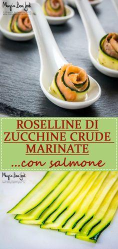 Roselline di zucchine crude marinate con salmone.