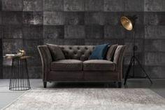 Sofa Chesterfield Modern Velvet Dark Grey 2os. Sofy - Dekoria.pl