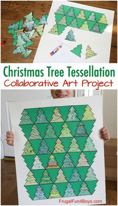 Collaborative Art with Christmas Tree Tessellations - fun holiday STEM project! Math plus art. art Collaborative Art with Christmas Tree Tessellations - Frugal Fun For Boys and Girls Christmas Art For Kids, Christmas Art Projects, Christmas Tree Art, Preschool Christmas, Collaborative Art Projects, School Art Projects, Escher Kunst, Tessellation Art, Christmas Tree Template
