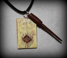 Inspired Harry Potter Marauders Map and Wand Themed Necklace | BrulezRulez - Jewelry on ArtFire
