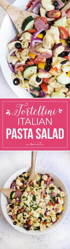 Easy tortellini Italian pasta salad made with Italian dressing in 15 minutes! So full of flavor and a side dish the whole family will love! Perfect for any summer BBQ!