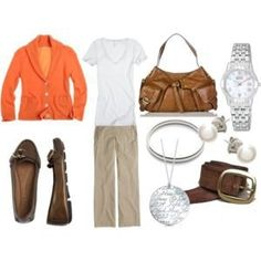 Orange blazer, white tee  and khaki pants outfit great pop of color for spring