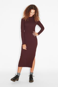 Super long and super stretchy, this fitted long sleeve ribbed dress is all…