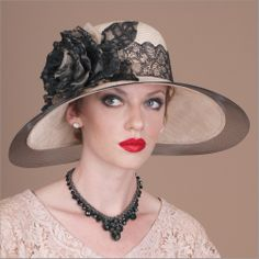Helena • Design by Louise Green • Fabric: Sisal crown and sinamay brim, fitted with their patented Silk Covered Elastic Headband • Colors: Ballet peach with black • Size: Fits Most • Style: Large brim hats, great for derbies and garden parties • Handmade in USA