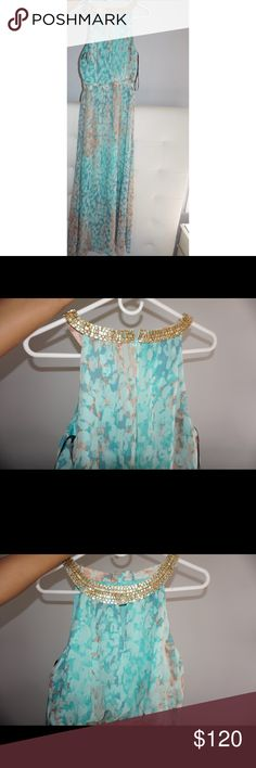 Vince Camuto Blue Printed Chiffon Maxi Artistic watercolor dress with a gold beaded collar for a goddess-like touch. 100% polyester lining: 100% polyester. Color: ANIMALIA POLYESTER. Vince Camuto Dresses Maxi