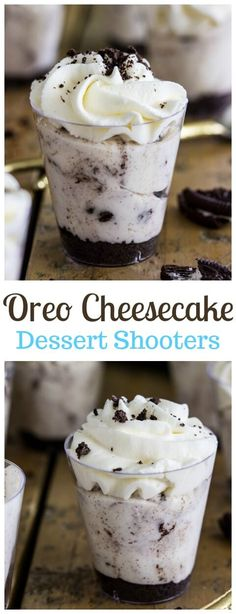 Made single-serving-sized in disposable shot glasses, these (non-alcoholic) Oreo Cheesecake Dessert Shooters are guaranteed to be a hit at your next event! Mini Desserts, Oreo Desserts, Single Serve Desserts, Individual Desserts, Cheesecake Desserts, Party Desserts, Cheesecake Shooters, Cheesecake Squares, Banana Cheesecake