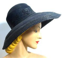Navy Blue Huge Brim High Crown Sun Hat circa 1960s - Dorothea's Closet Vintage