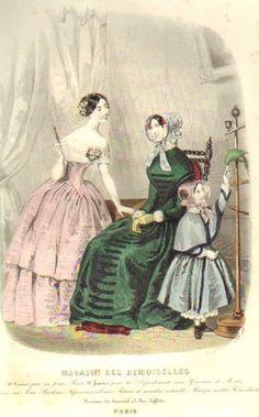 October 1848  +++++++++  GRAVURE de MODE AUTHENTIQUE-P 68-MAGASIN DES DEMOISELLES-1849