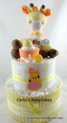 Giraffe diaper cake  Yellow diaper cake  by MsCarlasBabyCakes