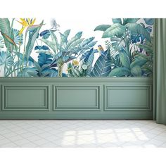 Papier peint panoramique – paradisio blue lagoon The Ninon Papers Art Mural, Wall Murals, Wall Molding, Tropical Decor, Handmade Home, Wall Design, Decoration, Interior And Exterior, Living Room Decor