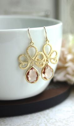 Matte Gold Plated Filigree Scroll Peach Glass Pear Gold Drop Dangle Earrings. Peach Wedding | By Marolsha.