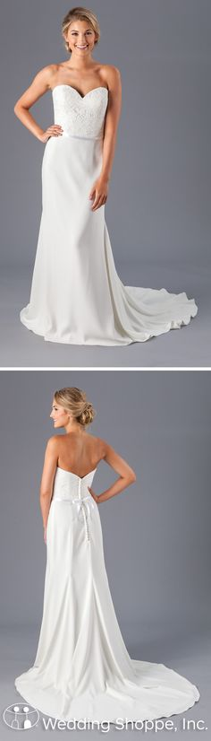 Kennedy Blue Sonia is a simple bridal gown with just enough detail. The fitted sheath silhouette consists of an all-lace bodice and lightweight crepe skirt starting at the natural waist. The bodice features a strapless, sweetheart neckline and slight V-back.