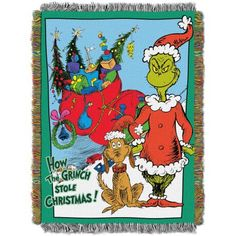 Dr. Seuss How The Grinch Stole Christmas, Christmas Smile 48 inchx 60 Woven Tapestry Throw