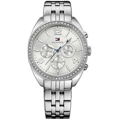 Tommy Hilfiger Silver Bracelet Watch With Jeweled Bezel ($175) ❤ liked on Polyvore featuring jewelry, watches, tommy hilfiger jewelry, bracelet watch, silver dress watches, silver bracelet watch and tommy hilfiger