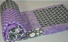 Lavender Grey Modern Baby Quilt - Baby - Modern Patchwork Quilt - Grey-Gray-Purple-Cream-Baby Blanket on Etsy, $85.00