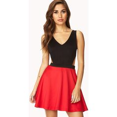 FOREVER 21 Chic Combo Dress ($20) ❤ liked on Polyvore featuring dresses, outfits, vestidos, models, fit flare dress, red cut-out dresses, v neck sleeveless dress, cutout dresses and red sleeveless dress