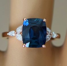 Trillium Engagement ring by Eidelprecious. Sapphire Jewelry, Blue Sapphire Rings, Sapphire Band, Green Sapphire Engagement Ring, Diamond Engagement Rings, Nautical Jewelry, Eternity Ring, Just In Case, Bridal Jewelry