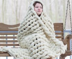 Chunky Giant Knit Wool Blanket