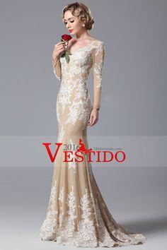 2015 V-cuello lleno de las mangas de la sirena de los vestidos de baile de promoción con apliques de gasa US$ 219.99 VEPNS7RQQM - 2016vestido.com