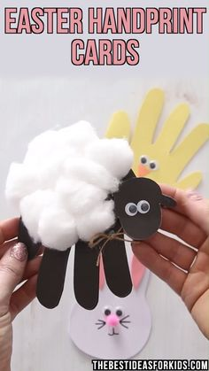 Kids Crafts EASTER HANDPRINT CARDS - these cute Easter cards are perfect for kids to make! Make a sheep, chick and bunny. An easy Easter craft for kid. Kids Crafts, Easter Craft Activities, Easy Easter Crafts, Easter Art, Bunny Crafts, Christmas Crafts For Kids, Toddler Crafts, Preschool Crafts, Preschool Kindergarten