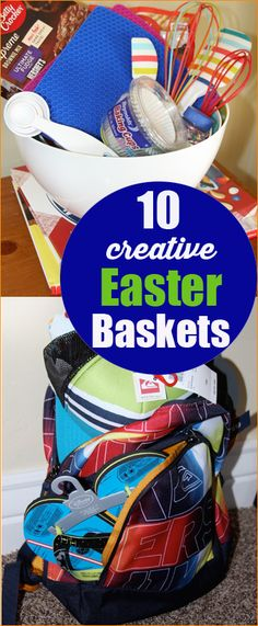 "Creative gift baskets for holidays, birthdays and special occasions. Think ""outside the box"" this Easter with these fantastic gift baskets. Spring and summer themed Easter baskets for kids and teens. Creative Gift Baskets, Best Gift Baskets, Creative Gifts, Easy Gifts, Creative Ideas, Hoppy Easter, Easter Bunny, Easter Eggs, Easter Food"