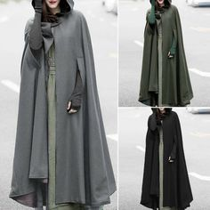 Coats & Jackets Zanzea Women Trench Coat Open Front Cardigan Jacket Coat Cape Cloak Poncho Plus Hooded Trench Coat, Poncho Coat, Cape Coat, Parka Coat, Cape Jacket, Hooded Cloak, Trench Coats, Poncho Mantel, Women's Coats