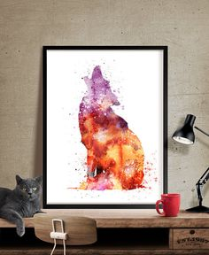 Wolf Watercolor Print Wolf  art watercolor by FineArtCenter