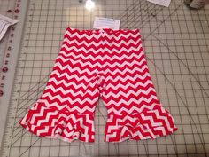Size 6 petal shorties red and white chevron reduced  on Etsy, $20.00