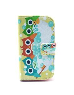 Δερμάτινη Θήκη Πορτοφόλι με Βάση Στήριξης για Samsung Galaxy S Duos S7562 / Trend S7560 / Ace II X S7560M - Τρεις κουκουβάγιες