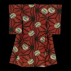 """Early-Showa period (1927-1940) A silk meisen kimono featuring bobbins on a hemp-leaf pattern ('asanoha'). 48"""" from sleeve-end to sleeve-end x 59"""" height. Traditionally, silk-reel bobbin (itomaki) motif, because of it's association with thread and weaving, is emblematic of the Tanabata festival."""