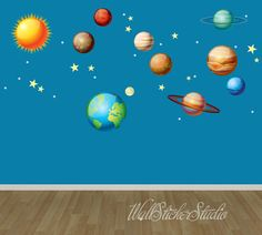 Solar System Wall Decals Space Wall Decal by WallStickerStudio