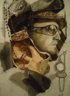 Self-Portrait: Revealed, Matthew D. Hughes, Pastel and Charcoal on Rives BFK, 22 x 30 inches, 2011. This was my first extensive use of pastels. While composing the design, I was influenced by John Whalley to add still life elements to the photographs.