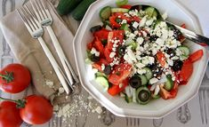 Shapska: Bulgarian salad of tomatoes, cucumber, roasted peppers, olives and sheep's cheese.