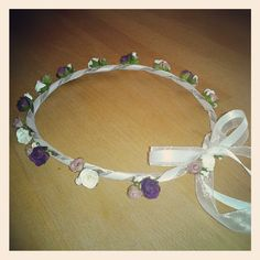 The Classic Bridesmaid hair garland by BloomingLoopy.com - in Purple, Dusky Pink and Ivory - made to measure (wide choice of colours available)