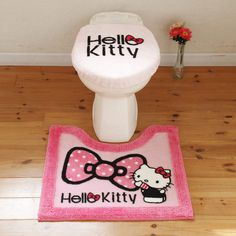 Hello Kitty bathroom seat cover and carpet, I just like it