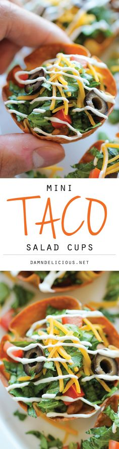 {Mexico} Mini Taco Salad Cups - These cute mini salad bowls are so fun to make, and even more fun to gobble up! Perfect for game day or an easy dinner for the kids!