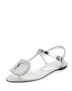 ROGER VIVIER Chips Strass Buckle Flat Sandal, Gray. #rogervivier #shoes #flats
