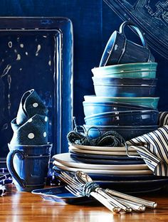 Pottery Barn's Indigo Color Story: I've a passion for shades of blue and turquoise, reminds me of the Ocean depths and Sailing under the sun and stars.  Can you smell the clean, fresh sea spray?...  Ahoy, the ship!