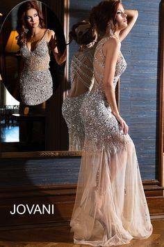 Jovani 90736 V-Neck Exposed Back Sheer Skirt Beaded Bodice | MadameBridal.com #jovani #promdress #prom Buy your Jovani Prom Dress from madamebridal.com
