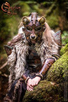Photoshoot 2015 : Celtic Wolf warrior 3 by Deakath Celtic Costume, Viking Costume, Wolf Warriors, Celtic Warriors, Medieval Fantasy, Dark Fantasy, Larp, Wolf Knight, Viking Armor