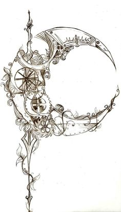 Awesome Steampunk Moon Tattoo Ideas