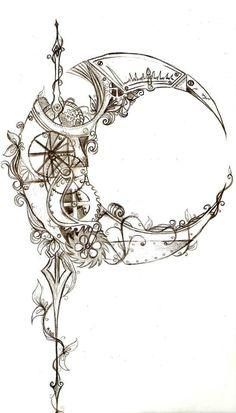 Awesome Steampunk Moon Tattoo Ideas