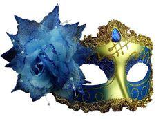 Venetian Style Lace with Rhinestone Liles Costume Masquerade Mardi Mask (Gold)