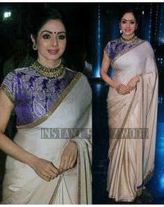 Blue high neck blouse n plain saree Trendy Sarees, Fancy Sarees, Saree Blouse Patterns, Saree Blouse Designs, Indian Dresses, Indian Outfits, Saree Dress, Sari Blouse, Sari Design