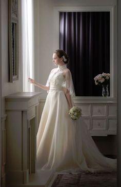 グランジュール ウエディングドレス 結婚式 Light weight ivory with a cape. Dream Wedding Dresses, Designer Wedding Dresses, Bridal Dresses, Wedding Gowns, Princess Wedding, Wedding Bride, Dresses Short, Beautiful Gowns, Bridal Collection