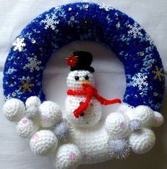 Christmas Wreath Decorative Wreath Snowman by BlueShedCrafts