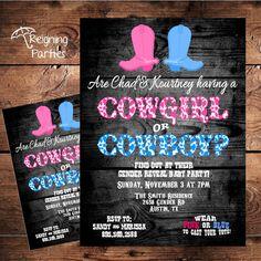 Blue or Pink Gender Reveal Baby Shower Invitation - Boy or Girl - Cowboy or Cowgirl Gender Party, Baby Gender Reveal Party, Baby Shower Invitations For Boys, Baby Shower Themes, Country Gender Reveal, Cowboy Baby Shower, Herd, Reveal Parties, Baby Party