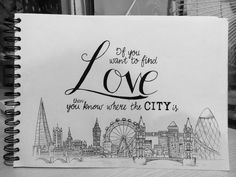 Original illustration, drawn completely by hand and inspired by The 1975's 'The City. Featuring iconic London skyline features and lyrics from the single. Prints for sale at www.smithsdoodles.etsy.com
