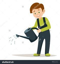 Стоковая векторная иллюстрация:  young smiling boy volunteer is watering plants vector illustration on white background